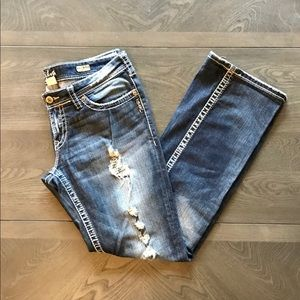 Distressed Silver Bootcut Jeans